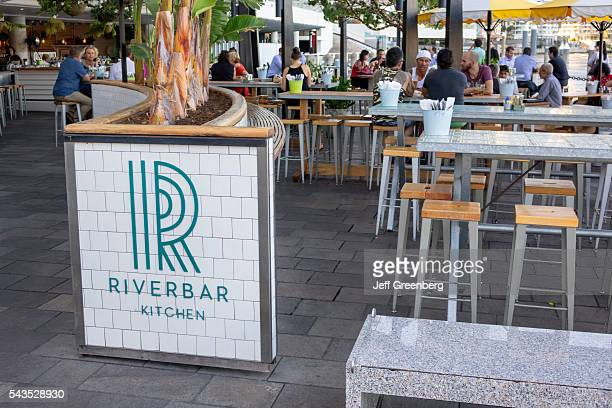 Australia Queensland Brisbane Central Business District Eagle Street Pier Brisbane River Riverside Center River bar Kitchen restaurant alfresco...