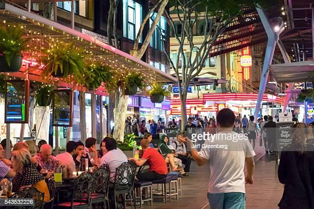 Australia Queensland Brisbane Central Business District Queen Street Mall night nightlife restaurant alfresco dining shopping