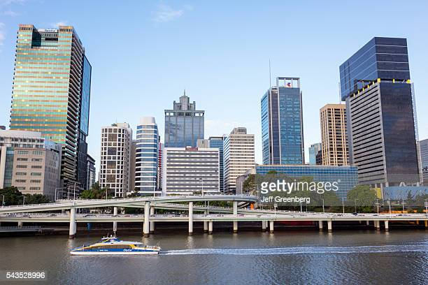 Australia Queensland Brisbane Central Business District Victoria Bridge Southbank city skyline skyscrapers buildings City Cat City Ferries ferry boat...