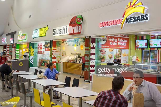 Australia Queensland Brisbane Fortitude Valley Station food court Subway sandwich shop Sushi Hiroba Sunshine Kebabs tables