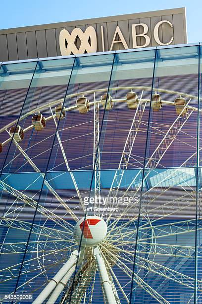 Australia Queensland Brisbane Southbank Parklands ABC Australian Broadcasting Corporation building reflection Brisbane Wheel glass