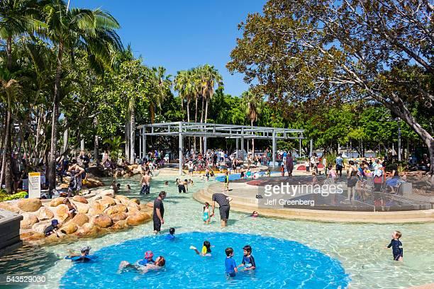 Australia Queensland Brisbane Southbank Parklands Streets Beach sunbathers swimming families