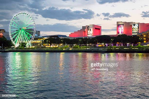 Australia, Queensland, Brisbane, Southbank The Brisbane Wheel Ferris Brisbane River Queensland Performing Arts Center dusk night.
