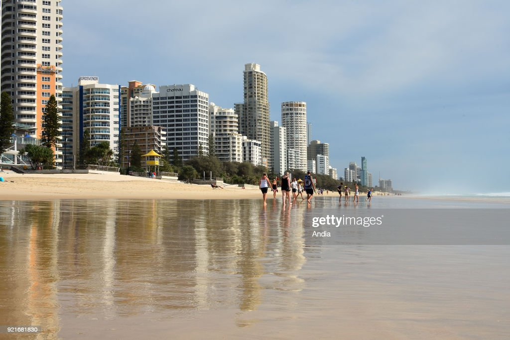 beach and the buildings along the waterfront of Surfer Paradise.