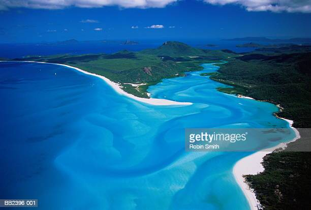 australia, queensland, whitsunday island, hill inlet, aerial view - coral sea stock photos and pictures
