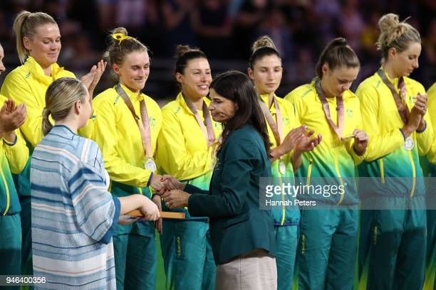 Australia receive their silver medals during the medal ceremony for the Netball Gold Medal Match on day 11 of the Gold Coast 2018 Commonwealth Games...