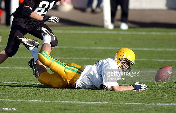 Australia Receiver Mark Fulton drops the ball during the American Football match between the New Zealand Iron Blacks and Australia played at Eden...