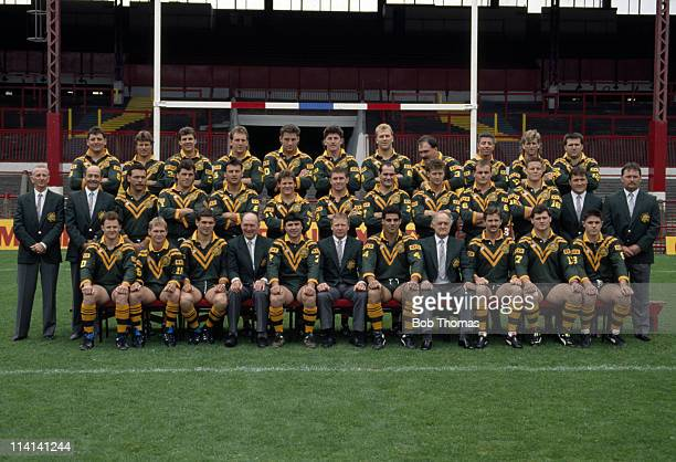 Australia rugby league team group during the Kangaroos Tour of Great Britain circa October 1990