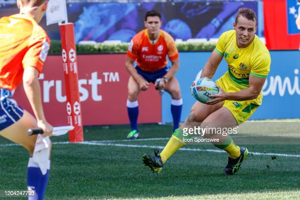 Australia scores in Match Australia vs Scotland during the LA Sevens Round 5 of the HSBC World Rugby Sevens Series held February 29 2020 at Dignity...
