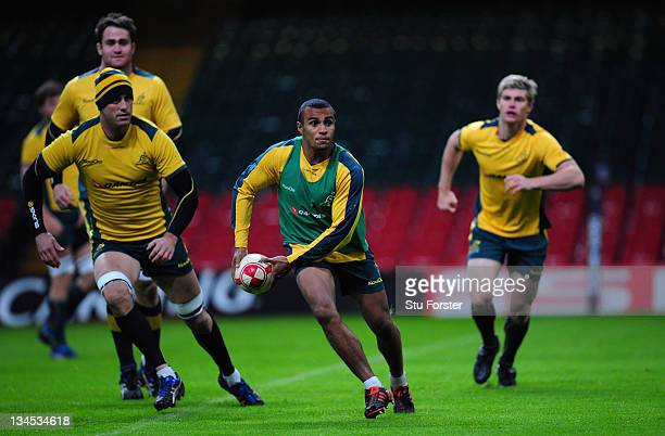Australia scrum half Will Genia in action during the Wallabies captains run ahead of tomorrows international game against Wales at the Millennium...