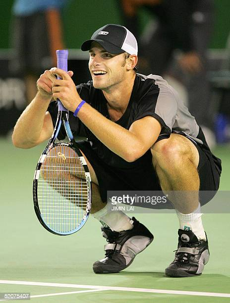 Second seed Andy Roddick of the US reacts during his loss to third seed Lleyton Hewitt of Australia in their men's singles semifinal match at the...