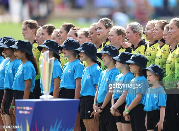 Australia sing the national anthem during the ICC Women's T20 Cricket World Cup match between Australia and Sri Lanka at the WACA on February 24 2020...