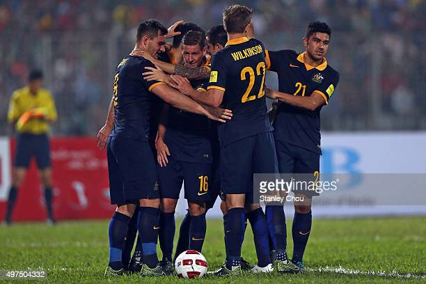 Australia Socceroos celebrates goal by Tim Cahill against Bangladesh during the 2018 FIFA World Cup Qualification match between Bangladesh and the...
