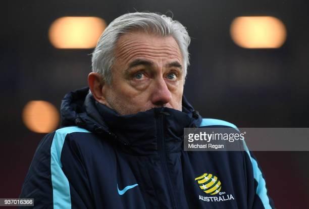 Australia SoccerooÕs coach Bert van Marwijk looks on prior to the International Friendly match between Norway and Australia at Ullevaal Stadion on...