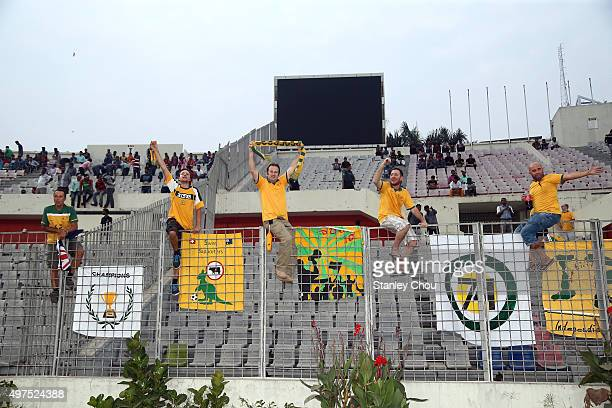 Australia Socceroos fans cheer prior to kick off during the 2018 FIFA World Cup Qualification match between Bangladesh and the Australia Socceroos at...