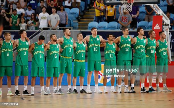 Australia stand as a team for the national anthem during the FIBA World Cup Qualifier match between the Australian Boomers and the Philippines at...