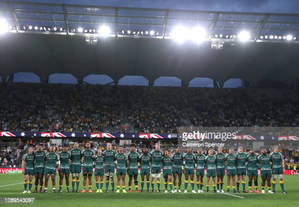 Australia stand for the national anthem during the 2020 Tri-Nations match between the Australian Wallabies and the Argentina Pumas at Bankwest...