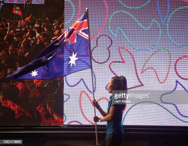 Australia standard bearer walks on day 12 during the closing ceremony of Buenos Aires 2018 Youth Olympic Games at Youth Olympic Park Villa Soldati on...