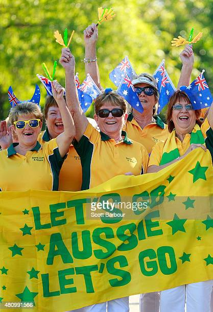 Australia supporters arrive to attend during day one of the Davis Cup World Group quarterfinal tie between Australia and Kazakhstan at Marrara...