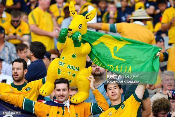 Australia supporters attend the Japan 2019 Rugby World Cup Pool D match between Australia and Wales at the Tokyo Stadium in Tokyo on September 29 2019