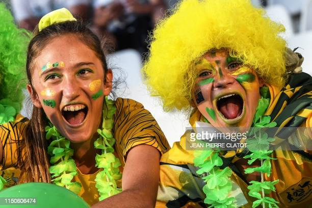 Australia supporters pose prior to the France 2019 Women's World Cup Group C football match between Jamaica and Australia, on June 18 at the Alpes...