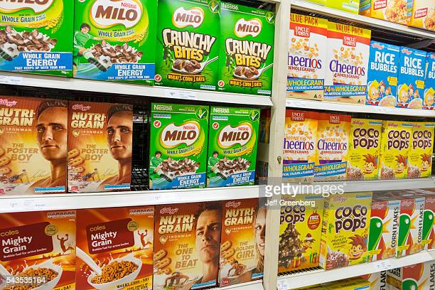 Australia Sydney CBD Central Business District Coles Central grocery store supermarket food sale shopping shelves competing brands breakfast cereal...