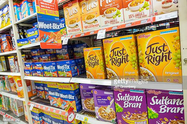 Australia Sydney CBD Central Business District Coles grocery store supermarket food sale shelves breakfast cereal boxes Kellogg's WeetTix competing...