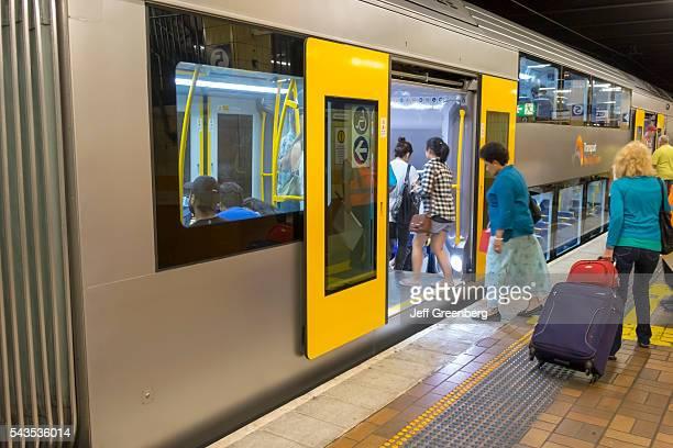 Australia Sydney CBD Central Business District Wynyard Railway Station City Circle Line train subway platform passengers boarding