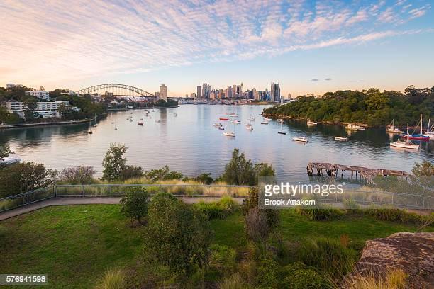 Australia Sydney CBD landmarks around Sydney Harbour view from Waverton.