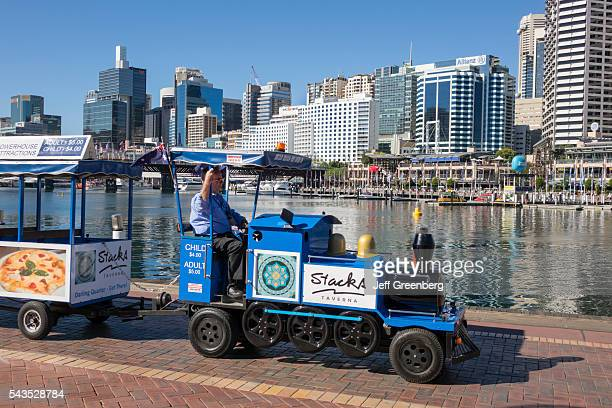 Australia Sydney Central Business District CBD Darling Harbor Cockle Bay Promenade water skyscrapers city skyline minitrain shuttle
