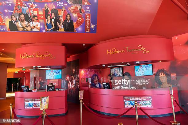 Australia Sydney Central Business District CBD Darling Harbor Madame Tussauds wax museum entrance lobby ticket booth front desk