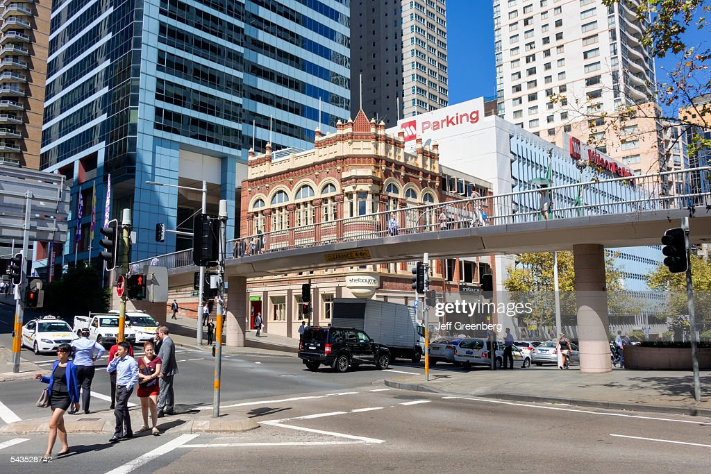 Australia Sydney Central Business District Cbd Market Sus Street Pyrmont Pedestrian Bridge Traffic Shelbourne