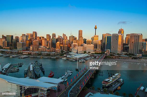 australia, sydney, darling harbor at sunset - darling harbour stock pictures, royalty-free photos & images