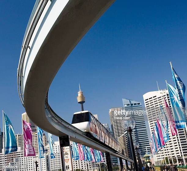 australia, sydney, darling harbour, monorail, low angle view - darling harbour stock pictures, royalty-free photos & images
