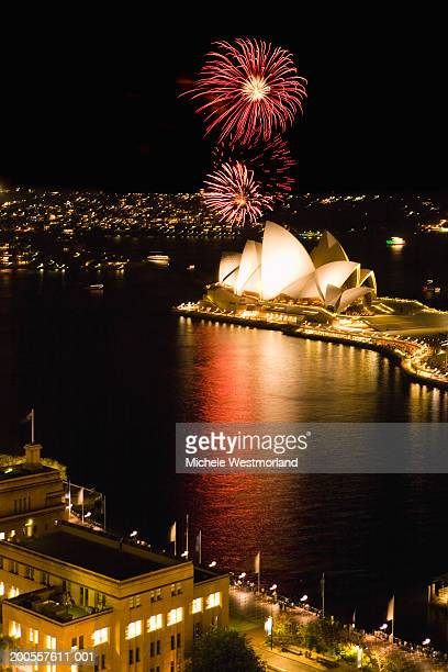 Australia, Sydney, fireworks display over Opera House, night, elevated