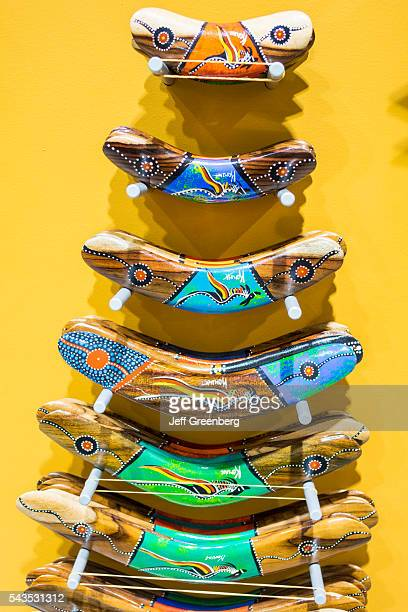 Australia Sydney KingsfordSmith Airport SYD inside interior terminal concourse gate area shopping sale display gifts souvenirs boomerangs painted...