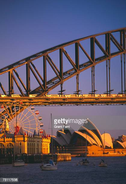 Australia, Sydney, Luna Park by Harbour Bridge, Opera House in background
