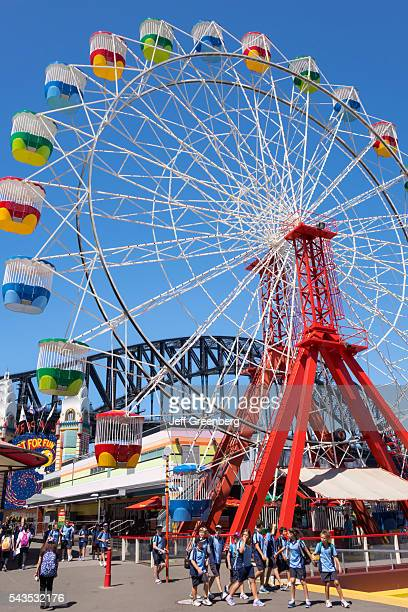 Australia Sydney Milsons Point Luna Park amusement Ferris Wheel student uniform class field trip classmates