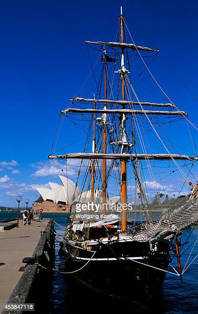 Australia Sydney The Rocks Campbell Cove Tall Ship Opera House In Background
