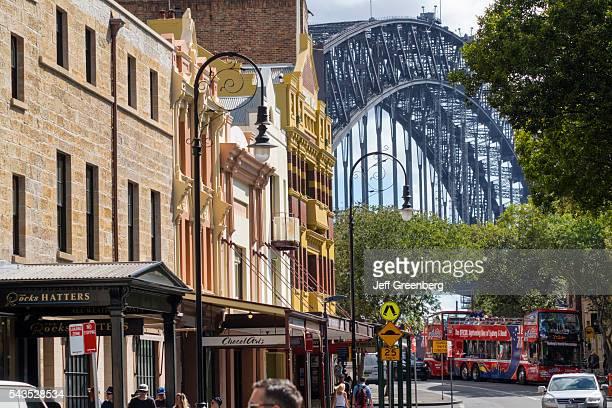 Australia Sydney The Rocks Market historic district buildings Sydney Harbor Bridge