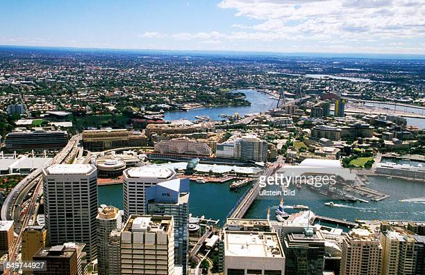 AUS Australia Sydney view from Sydney Tower to Darling Harbour
