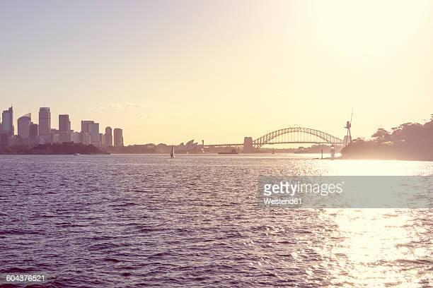 Australia, Sydney, view to Sydney Harbour Bridge at backlight