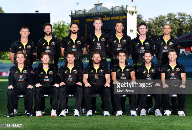 Australia T20 team pose for a team photo in front of the Adelaide Oval scoreboard Back Row Ben McDermott, Andrew Tye, Kane Richardson, Billy...