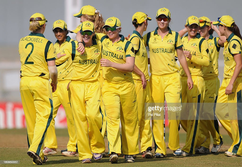 Australia team celebrates after winning the super six match between England and Australia held at the CCI (Cricket Club of India) on February 8, 2013 in Mumbai, India.