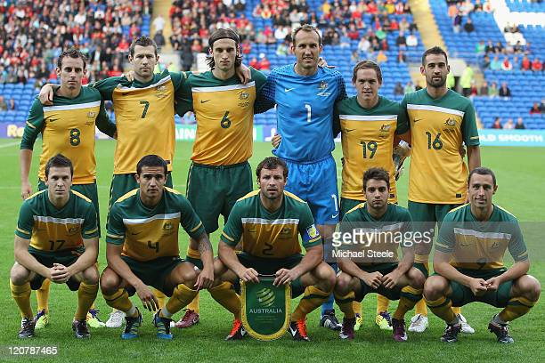 Australia team group during the International Friendly match between Wales and Australia at the Cardiff City Stadium on August 10, 2011 in Cardiff,...