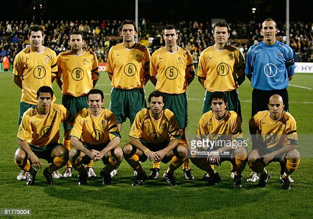 Australia team line up prior to the International friendly match between Australia and Norway at Craven Cottage on November 16 in London Back Row...