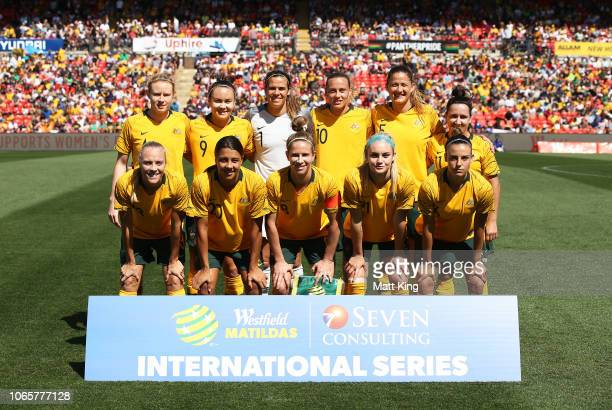 Australia team lines up during the International Friendly match between the Australian Matildas and Chile at Panthers Stadium on November 10, 2018 in...