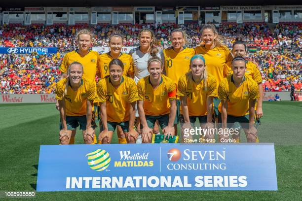Australia team lines up during the International Friendly match between the Australian Matildas and Chile at Panthers Stadium on November 10 2018 in...