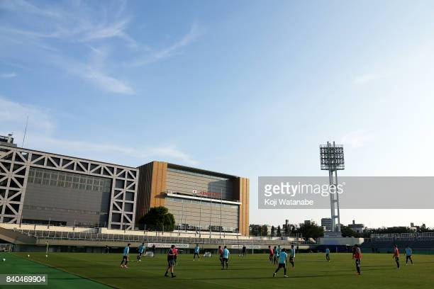 Australia team players in action during an Australia training session at Ajinomoto Field Nishigaoka ahead of the FIFA World Cup qualifier against...