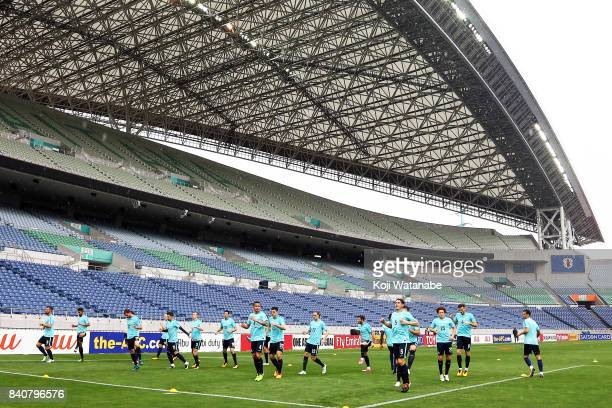 Australia team players in action during an Australia training session at Saitama Stadium ahead of the FIFA World Cup qualifier against Japan on...